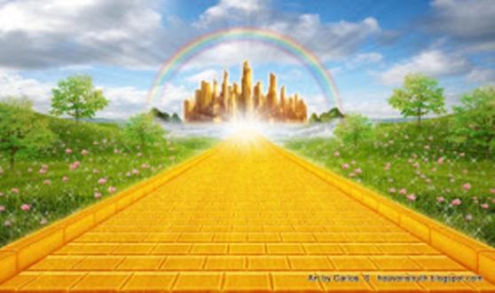 Himmlische Stadt mit goldenen Strassen